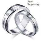 Free Engraving 2 PCS You Are Always In My Heart Couples Ring Set Promise Rings