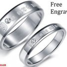 Custom Engraving 2 PCS Silver Stainless Steel Couple Ring Promise Wedding Rings