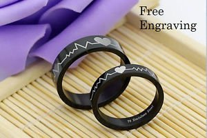 Free Engraving 2 pcs Heartbeat Stainless Steel Couples Ring Set Matching Rings