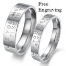 Custom Engraving 2 pcs Love Letter Stainless Steel Couple Ring Set Promise Rings