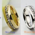 Free Engraving Austrian Crystal Stainless Steel Couple Ring Set Promise Rings