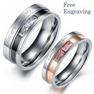 Free engraving Exquisite Titanium Steel Couple Ring Set Engagement Promise Ring