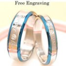 Free Engraving Blue Forever Love Stainless Steel Couples Ring Set Promise Rings