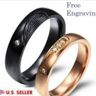 Custom Engraving 2 PCS Heart Shape Stainless Steel Couple Promise Wedding Rings