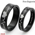 Free Engraving 2 PCS Black Heartbeat Stainless Steel Couple Promise Rings Bands