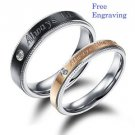 Custom Engraving 2 PCS Romantic Stainless Steel Couple Ring Set Promise Rings