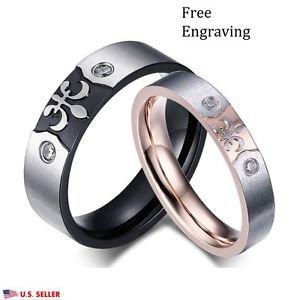 Custom Engraving Stainless Steel Saint Couple Promise Engagement Wedding Rings