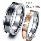 Free Engraving 2 PCS Eternal Love Titanium Steel Couple Promise Engagement Rings