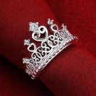 USA Women's Princess Silver Plated Crown Ring Wedding Engagement Ring Jewelry