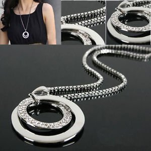 USA Fashion Women Crystal Rhinestone Silver Plated Long Chain Pendant Necklace