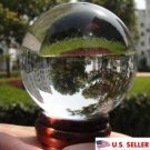 USA 40mm+Stand Asian Rare Natural Clear Magic K9 Crystal Healing Ball Sphere