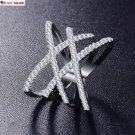 USA Women Platinum Plated Austrian Zirconia Criss Cross Setting Double X Ring