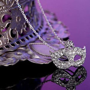 USA Lady Fox Masquerade Mask Pendant Necklace Rhinestone Crystal Chain Party
