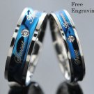 Custom Engraving Blue and Silver Stainless Steel Couple Ring Set Promise Rings