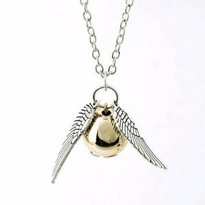 USA Golden Silver Snitch Fall Angel Wing Charm Gold Ball Pendant Chain Necklace