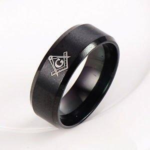 USA 14k Black Stainless steel Men's His Freemason Mason Black Ring Size 7-13