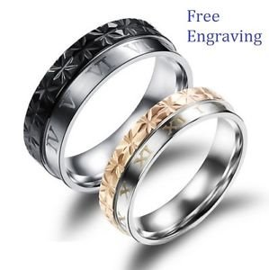 Custom Engraving 2 PCS Roman Numerals Titanium Steel Couple Matching Rings Bands
