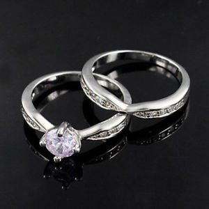 USA 2PCS Platinum Plated Couple Ring Set Engagement Promise Rings Wedding Rings