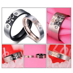 2Pcs Stainless Steel Couple Ring Promise Engagement Wedding Rings Jewelry