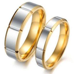 Custom Engraving 2PCS 18k Gold Titanium Steel Couple Ring Set Engagement Rings