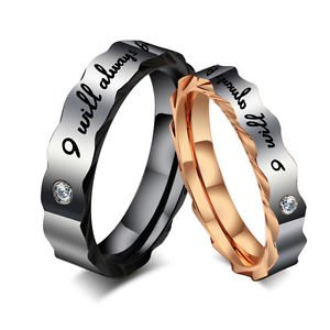 USA 2Pcs Zig Zag Titanium Steel Ring Couple Wedding Promise Rings Band
