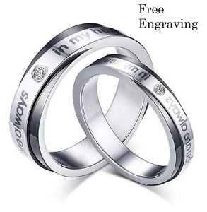 Free Engraving 2 PCS You Are Always In My Heart Couple Ring Set Promise Rings