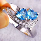 USA Fashion Women Blue Heart White Gemstone Silver Ring Fashion Jewelry Size 6-9