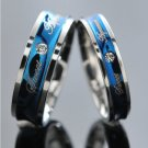 Blue and Silver Sweet Agreement Stainless Steel Couple Ring Set Promise Rings