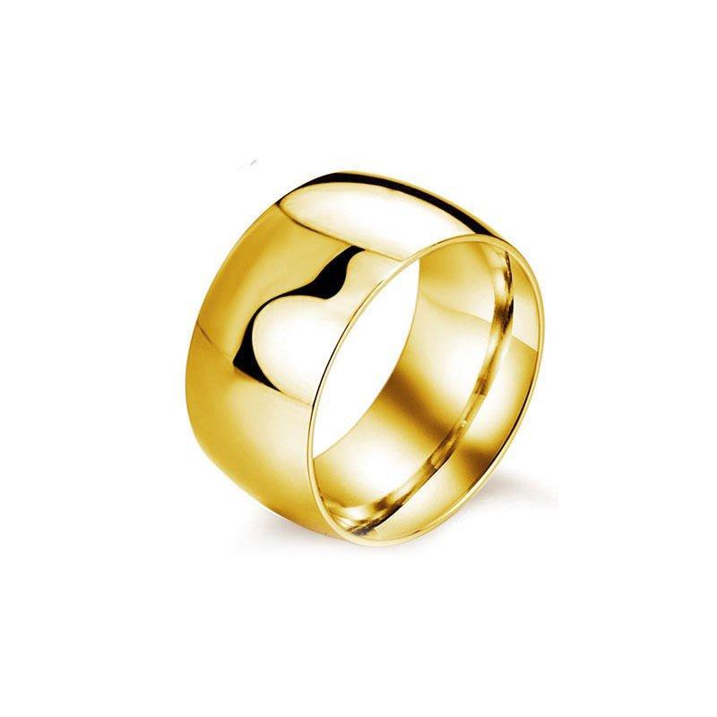 USA 12MM Gold Titanium Steel Mirror Wedding Engagement Wide Ring Band Size 6-13