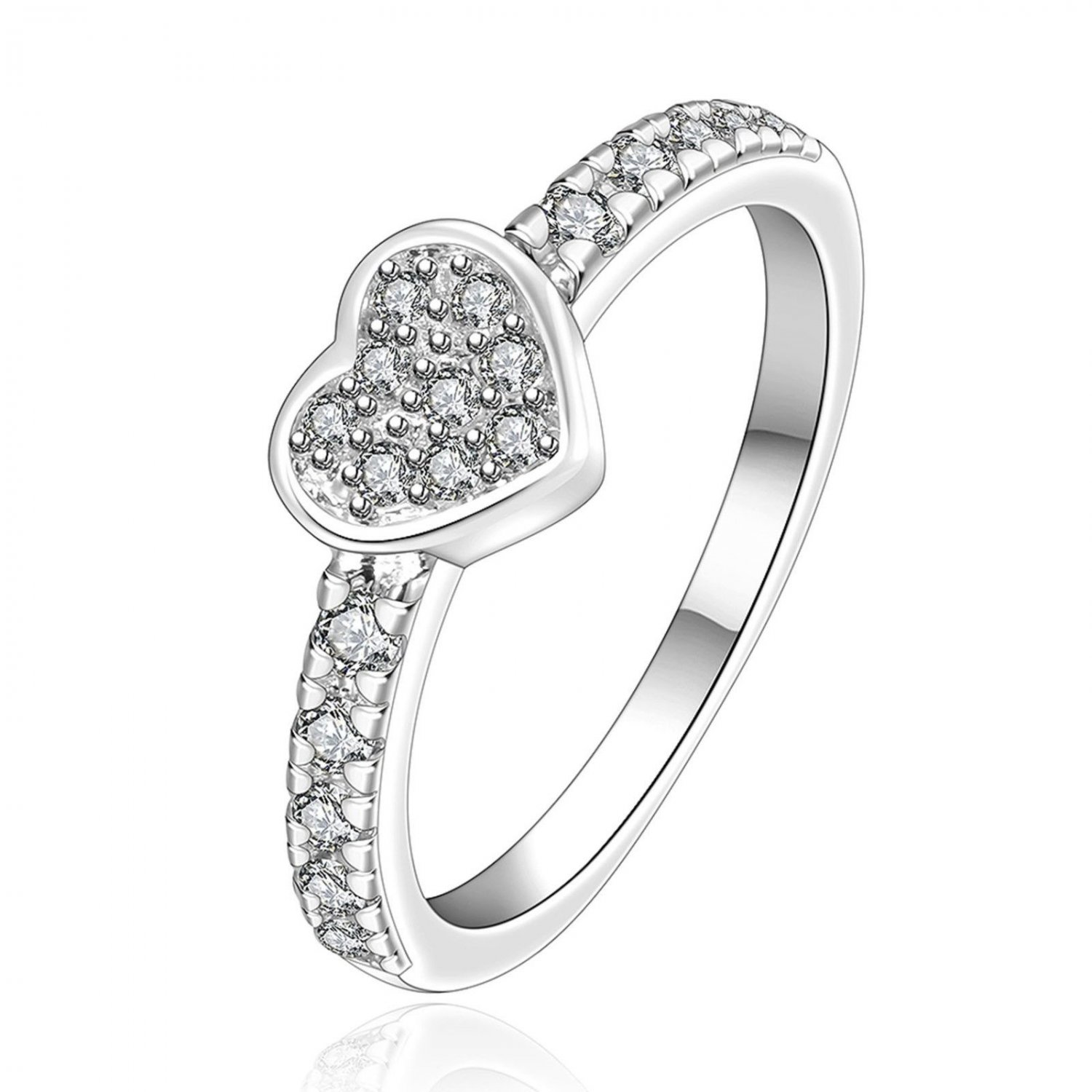 Women Silver Plated Zircon Love Heart Ring Engagement Fashion Jewelry Size 7-8