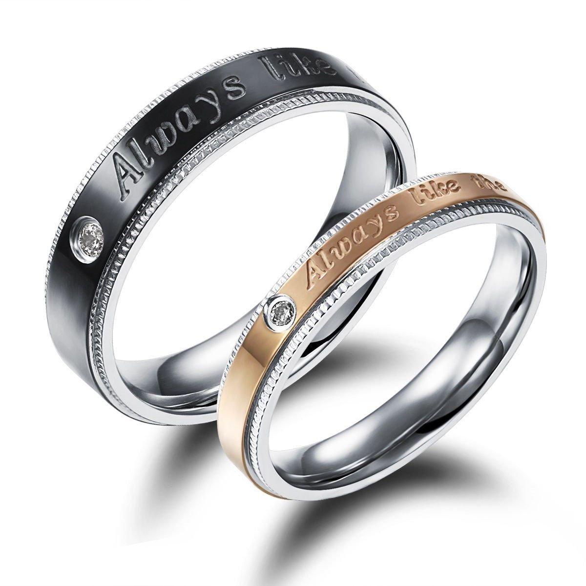 USA 2PCS Black & Rose Gold Stainless Steel Couple Ring Promise Anniversary Rings