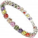 Women's Silver Plated Multi-color Crystal Rhinestone Bangles Jewelry Bracelet
