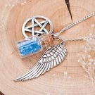 Movie Supernatural Pentacle Angel Wing Wishing Bottle Guardian Necklace Jewelry