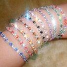 US Women Tennis Silver Rhinestone Crystal Wedding Bridal Bangle Stretch Bracelet
