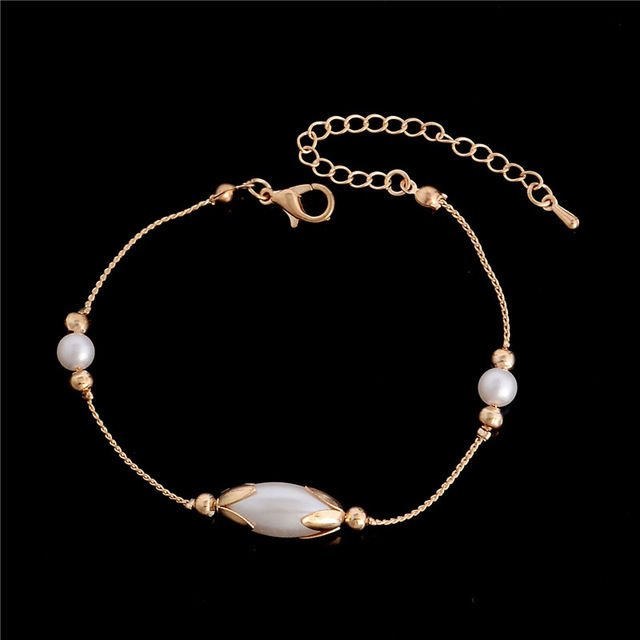 USA Women Pearl Gold Plated Anklet Chain Ankle Bracelet Anklets Jewelry