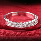 USA New Women's Gold Silver Plated Rhinestone Crown Couple Ring Wedding Jewelry
