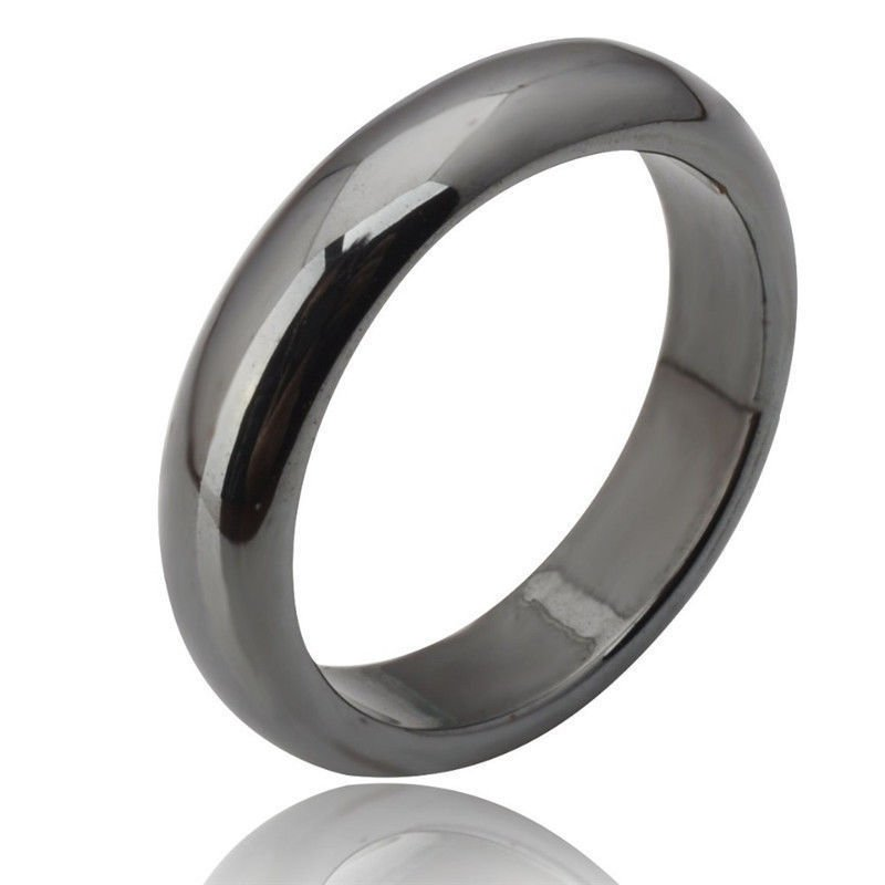 USA Unisex Men Women Charm Black Gallstone Magnetic Natural Hematite Band Ring