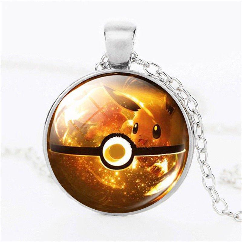 USA Pokemon Go Silver Chain Cabochon Eevee Pokemon Pokeball Pendant Necklace