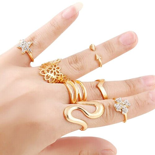 USA 7pcs Women Lady Flower Star S-Shape Knuckle Midi finger Stacking Ring Set