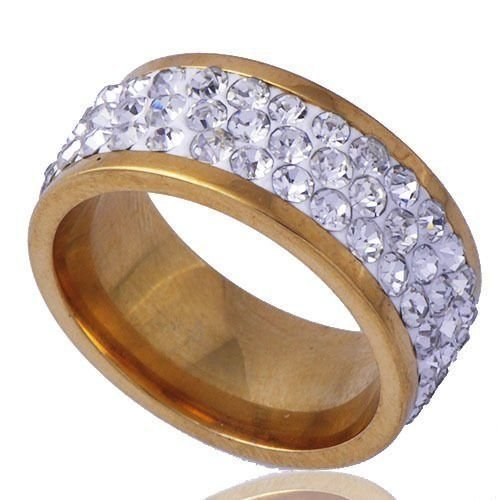 USA Womens Gold plated Stainless Steel Rings 3 Row Clear Couple Ring Size 8