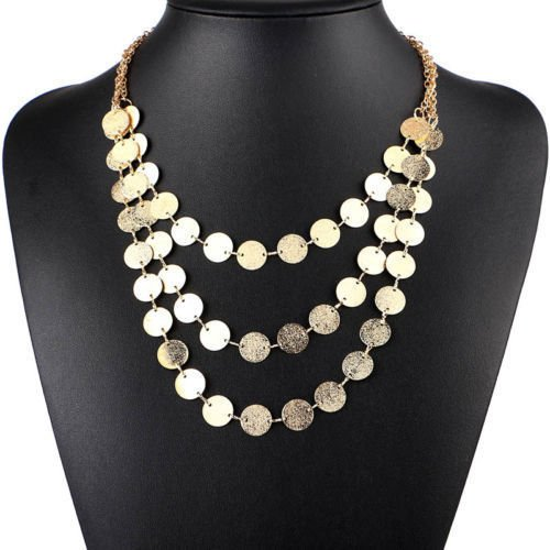 USA Women Gold/Silver Plated 3 Layer Disc Coin Chain Statement Pendant Necklace
