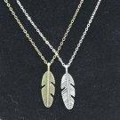USA 2PCS Men Women Miniature Feather Pendant Couple Necklace Fashion Jewelry