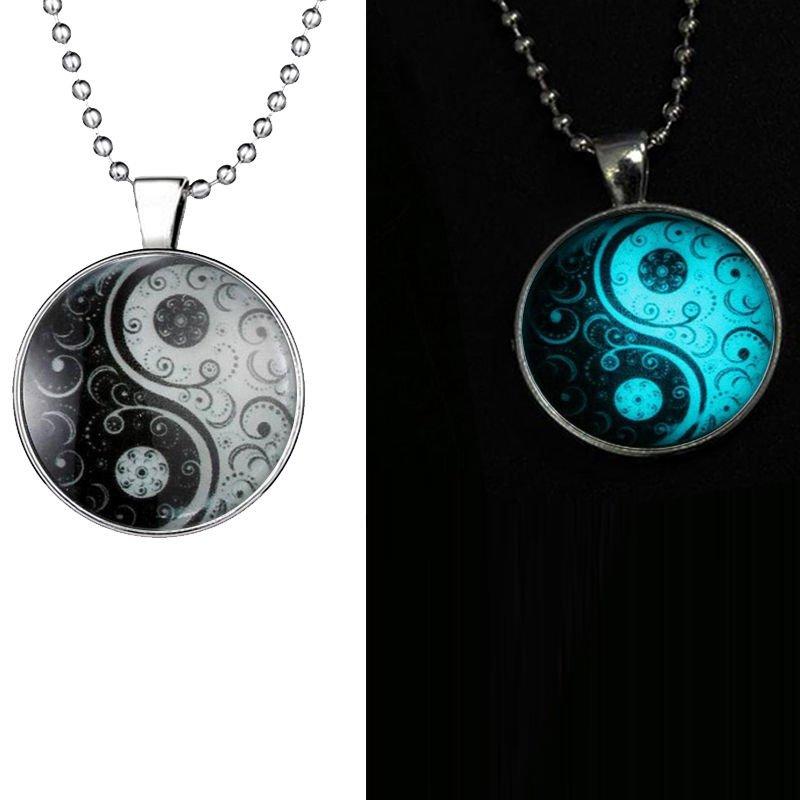 New Women Men Luminous Glow In The Dark Yin Yang Cabochon Glass Necklace