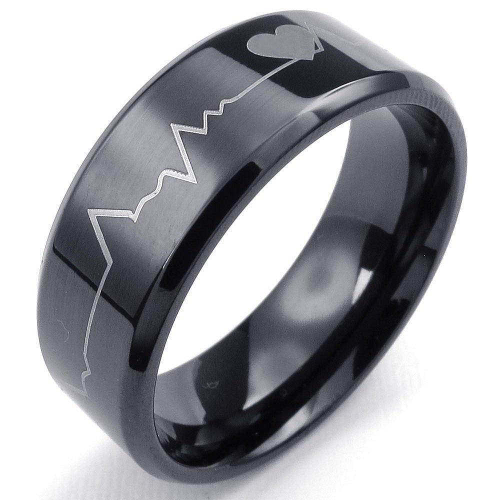 USA 8mm Black Heartbeat Tungsten Carbide Edge Ring Men Ring Tungsten Band