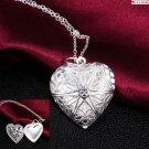USA Woman Silver Plated Picture Locket Hollow Heart Photo Pendant Chain Necklace