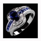 Women Blue Gemstone Silver Plated Engagement Wedding Promise Couple Ring USA