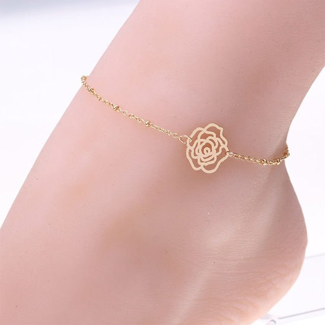 Women Gold Plated Rose Flower Anklet Chain Ankle Bracelet Anklets foot Jewelry