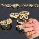 US 7pcs Women Lady Crystal Bowknot Knuckle Midi Mid Finger Tip Stacking Ring Set