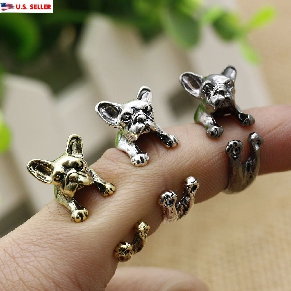 USA Fashion French Bulldog Ring Pet Cute Dog Animal Women Adjustable Size 5-9