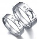 2Pcs Footprints Stainless steel couple ring Promise Matching Engagement Rings